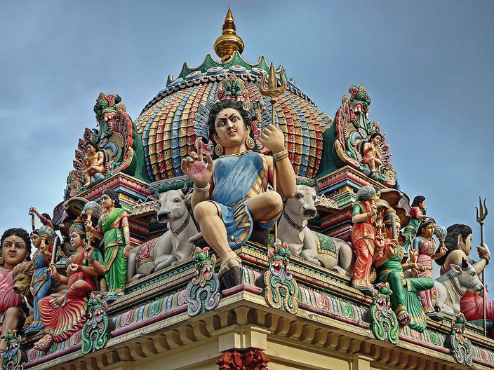 15 SECTION  OF SRI MARIAMMAN TEMPLE SINGAPORE by Pam Sherren