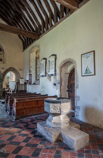 17 THE FONT ST MARY'S CHURCH CAPEL LE FERNE KENT by Chris Rigby