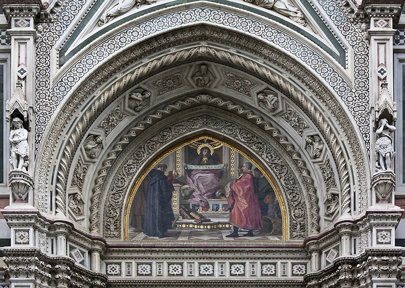 16 DETAIL OF FACADE OF FLORENCE CATHEDRAL BUILT IN THE 1870s WITH MOSAIC BY NICOLO BARABINO DEPICTING CITIZENS PAYING HOMAGE by Philip Smithies