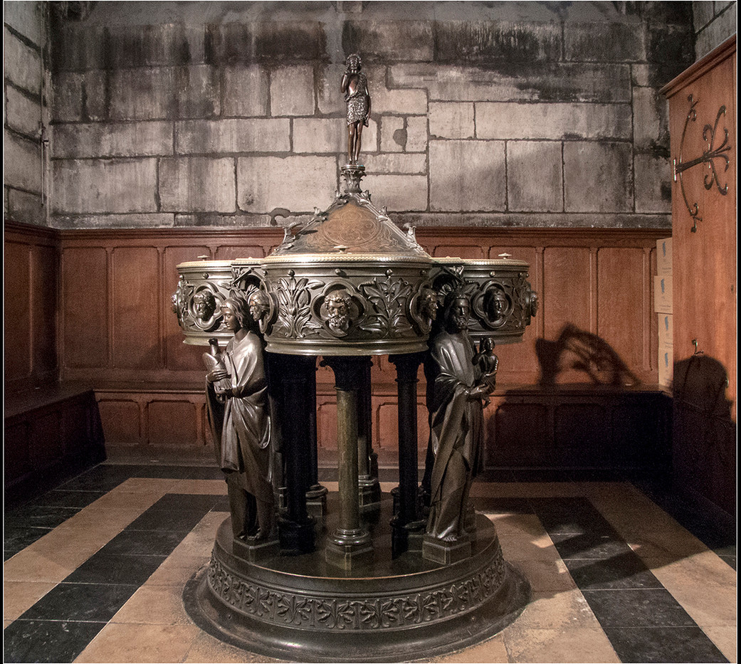 15 BAPTISMAL FONT IN NOTRE DAME by Cathie Agates