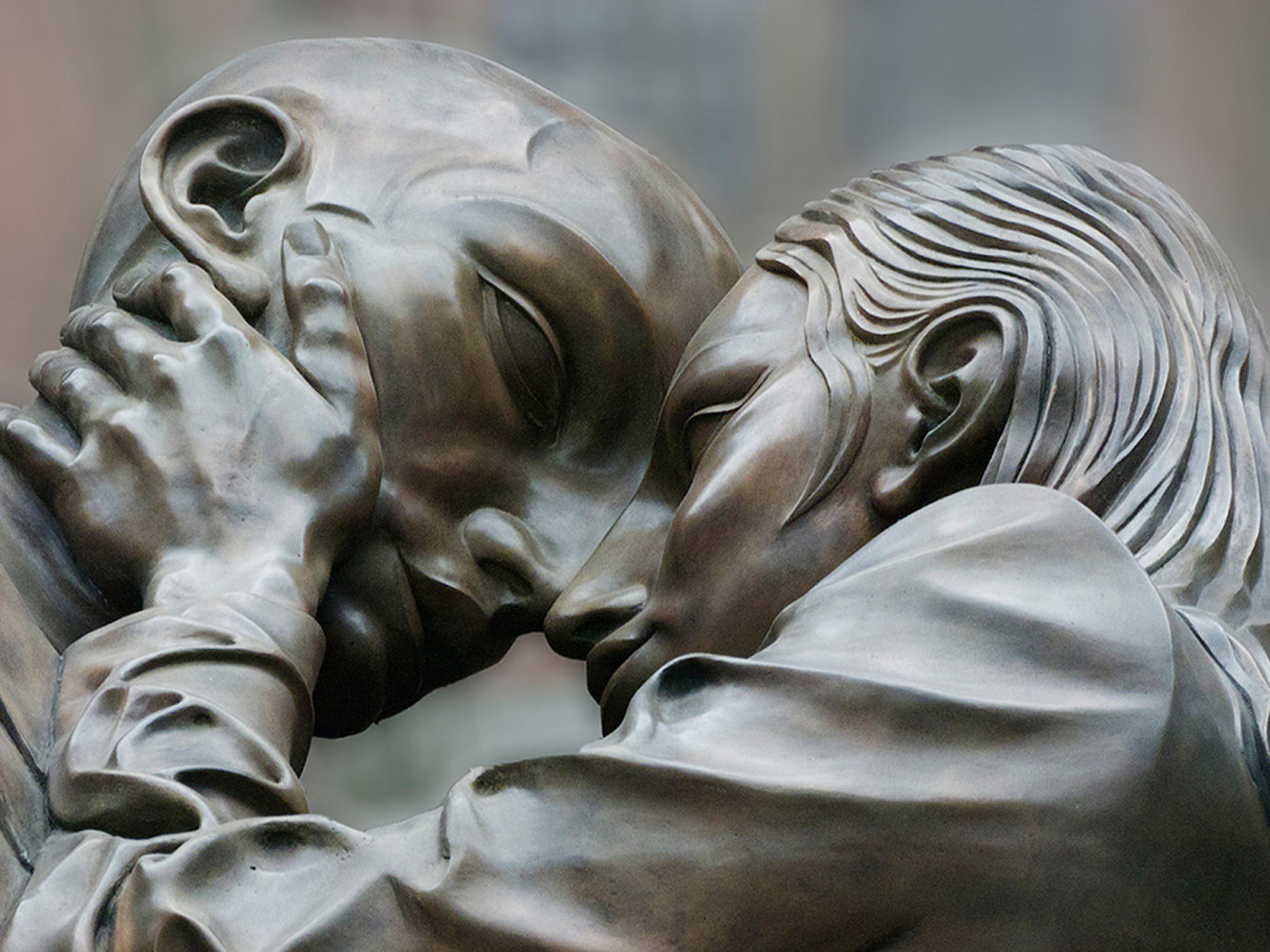 18 DETAIL OF PAUL DAY S SCULPTURE THE MEETING PLACE AT ST PANCRAS STATION by John Lewis
