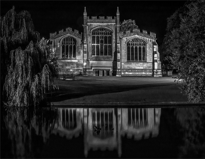17 ST MARY'S CHURCH, HITCHIN, JUST BEFORE DAWN by Colin Burgess