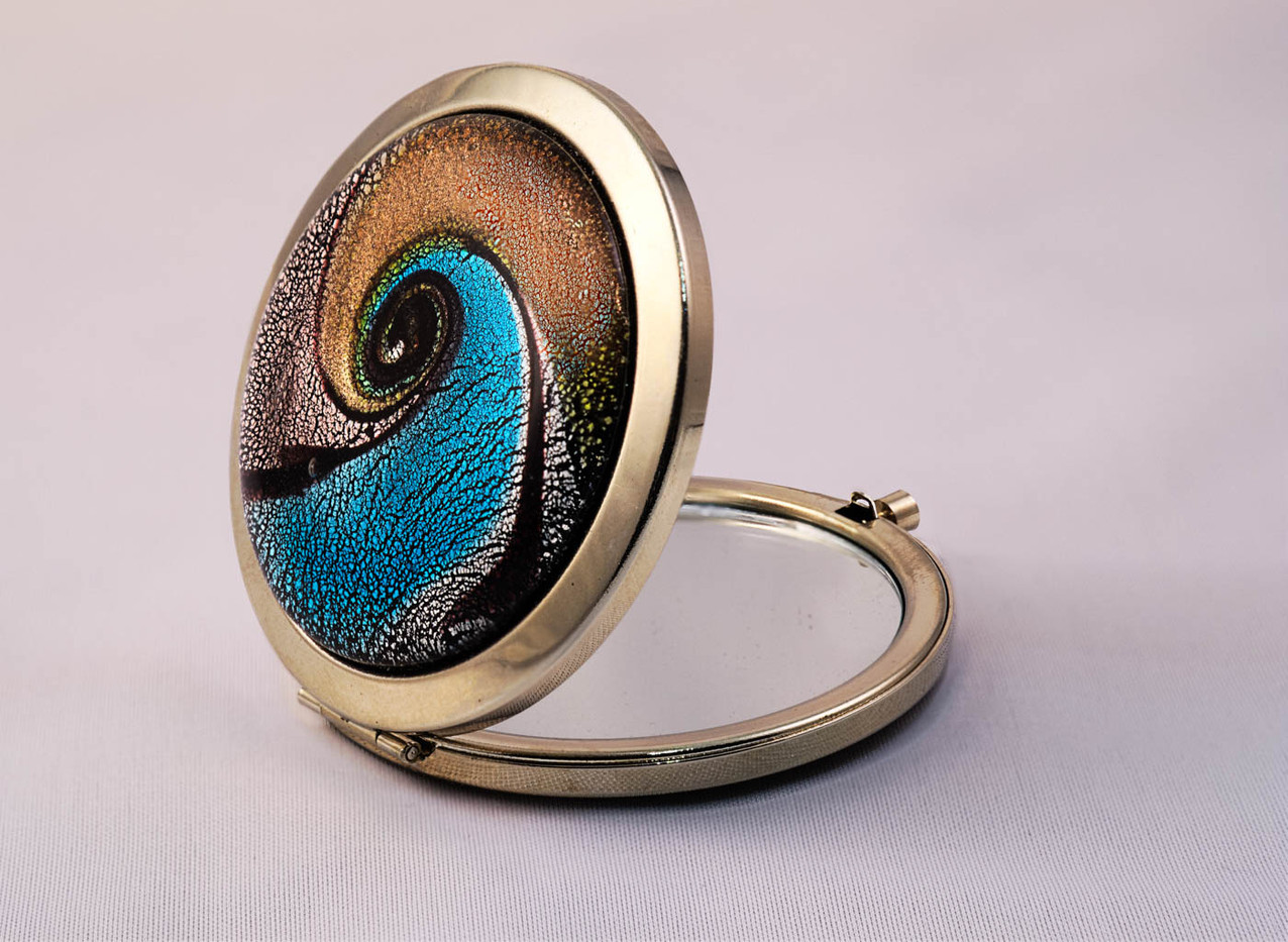 16 ENAMELLED COMPACT MIRROR by Tony Hill