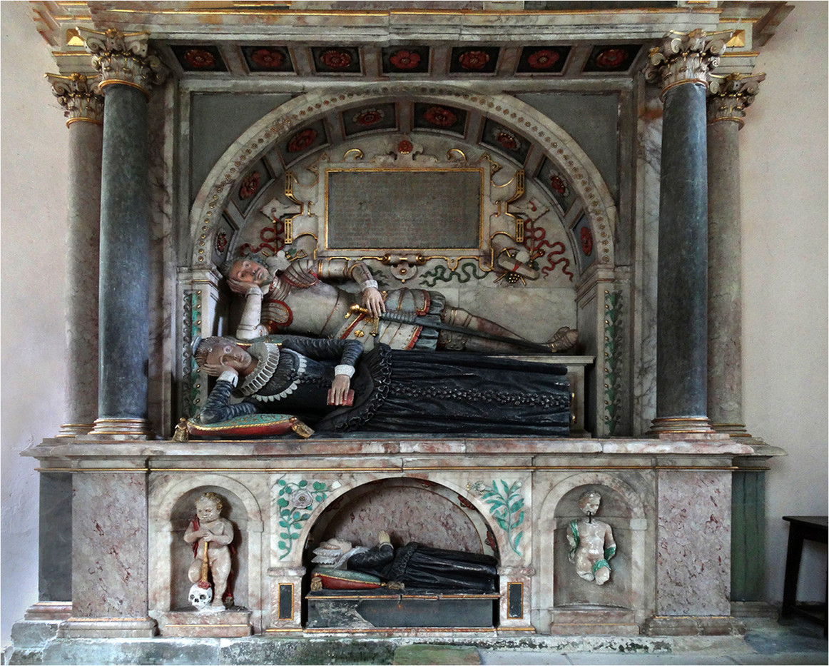 18 ST LAWRENCE CHURCH, SNARFORD. MEMORIAL TO SIR GEORGE ST PAUL &  HIS WIFE DIED 1613 by Brian Whiston
