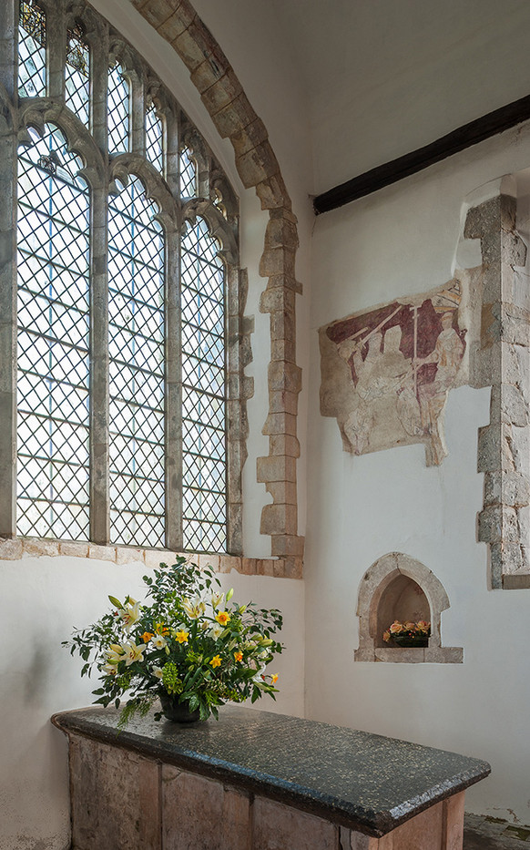 15 MEDIEVAL WALL PAINTING SHOWING THE  MARTYRDOM OF THOMAS BECKET ABOVE ALTAR TOMB OF JOHN PLUMBER ST AUGUSTINE'S  CHURCH BROOKLAND KENT by Chris Rigby