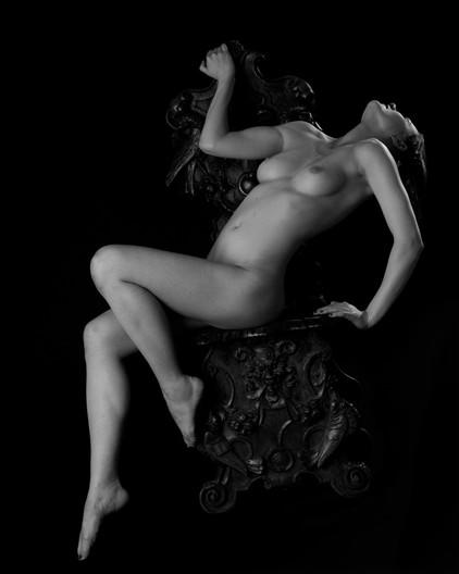GROUP 1 17 NUDE ON CARVED CHAIR by Richard ames
