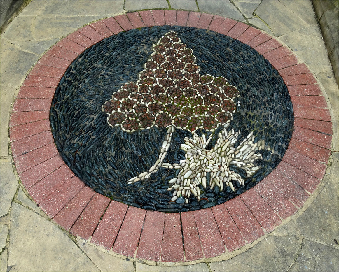 17 PEBBLE ART DECORATION INSET IN PAVEMENT, ITALY by Brian Whiston