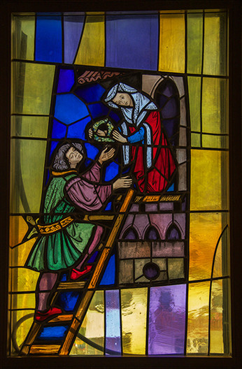 18 STAINED GLASS WINDOW DEPICTING ROMEO AND JULIET IN OSWALD HOTEL, SELVA, ITALY by John Lewis