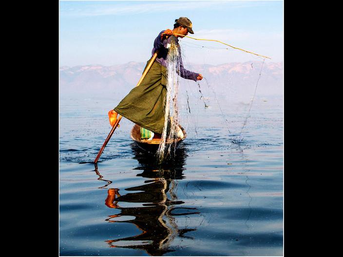 18 FISHERMAN ON INLE LAKE by David Parkinson