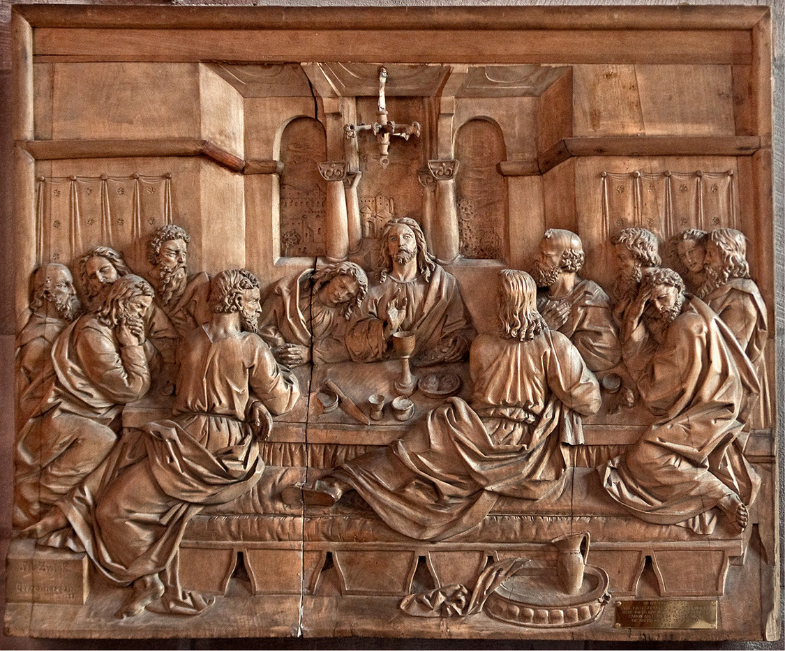 15 WOODEN PLAQUE BRECON CATHEDRAL by Peter Tulloch