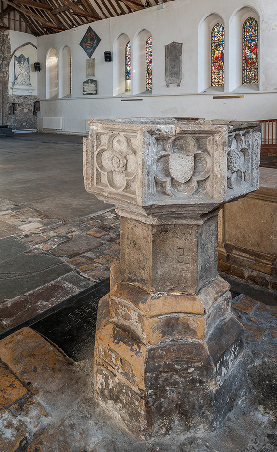 17 FIFTEENTH CENTURY FONT ST MARY'S  CHURCH SANDWICH by Chris Rigby