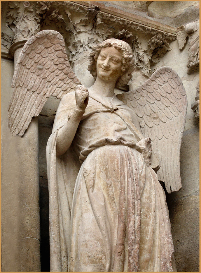 16 SMILING ANGEL, REIMS CATHEDRAL by Keith Evans