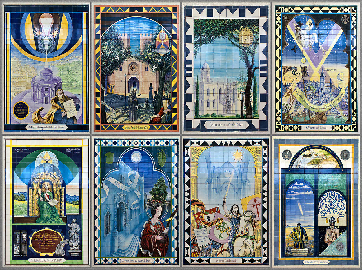 17 MONTAGE OF WALL PLAQUES FROM DIFFERENT INTERIOR WALLS AT ROSSIO STATION LISBON by Philip Smithies