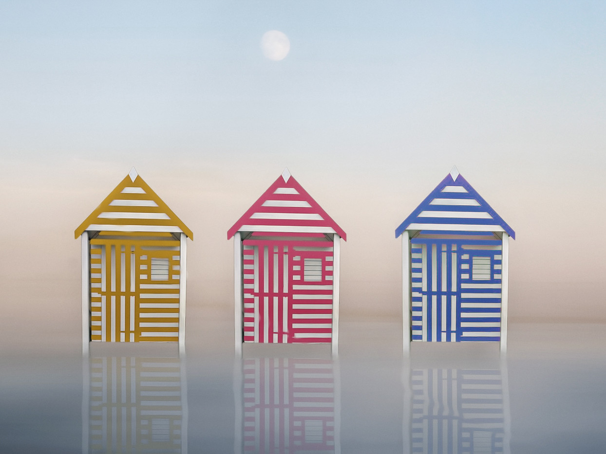 20 STRIPED BEACH HUTS by Pam Sherren