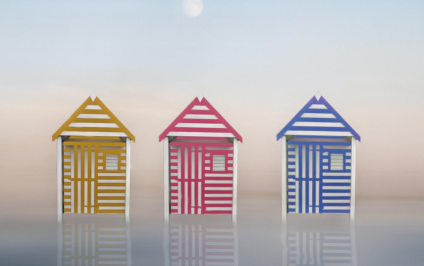 STRIPED BEACH HUTS by Pam Sherren