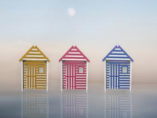 20 STRIPED BEACH HUTS by Pam Sherren