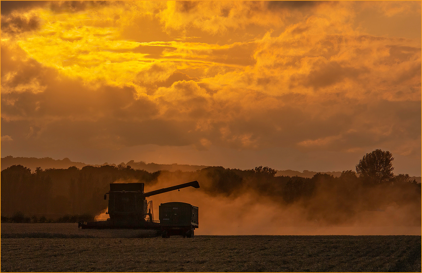 17 HADLOW HARVEST AT SUNSET by Colin Burgess