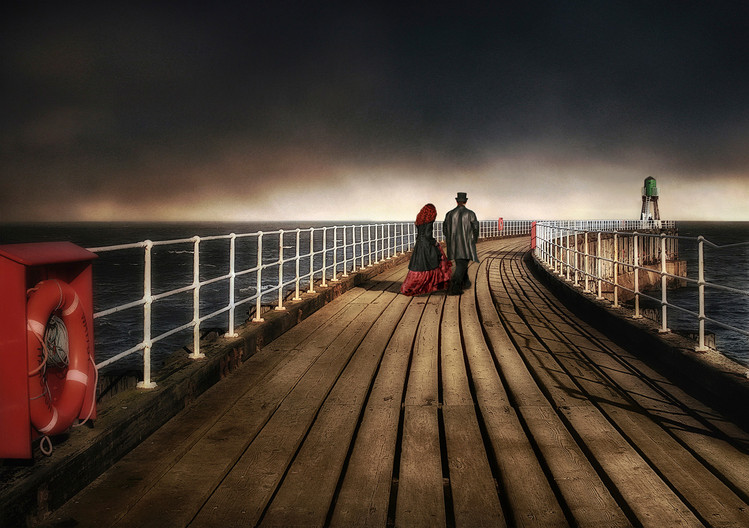 GROUP 1 17 GOTHS ON WHITBY PIER by Pam Sherren