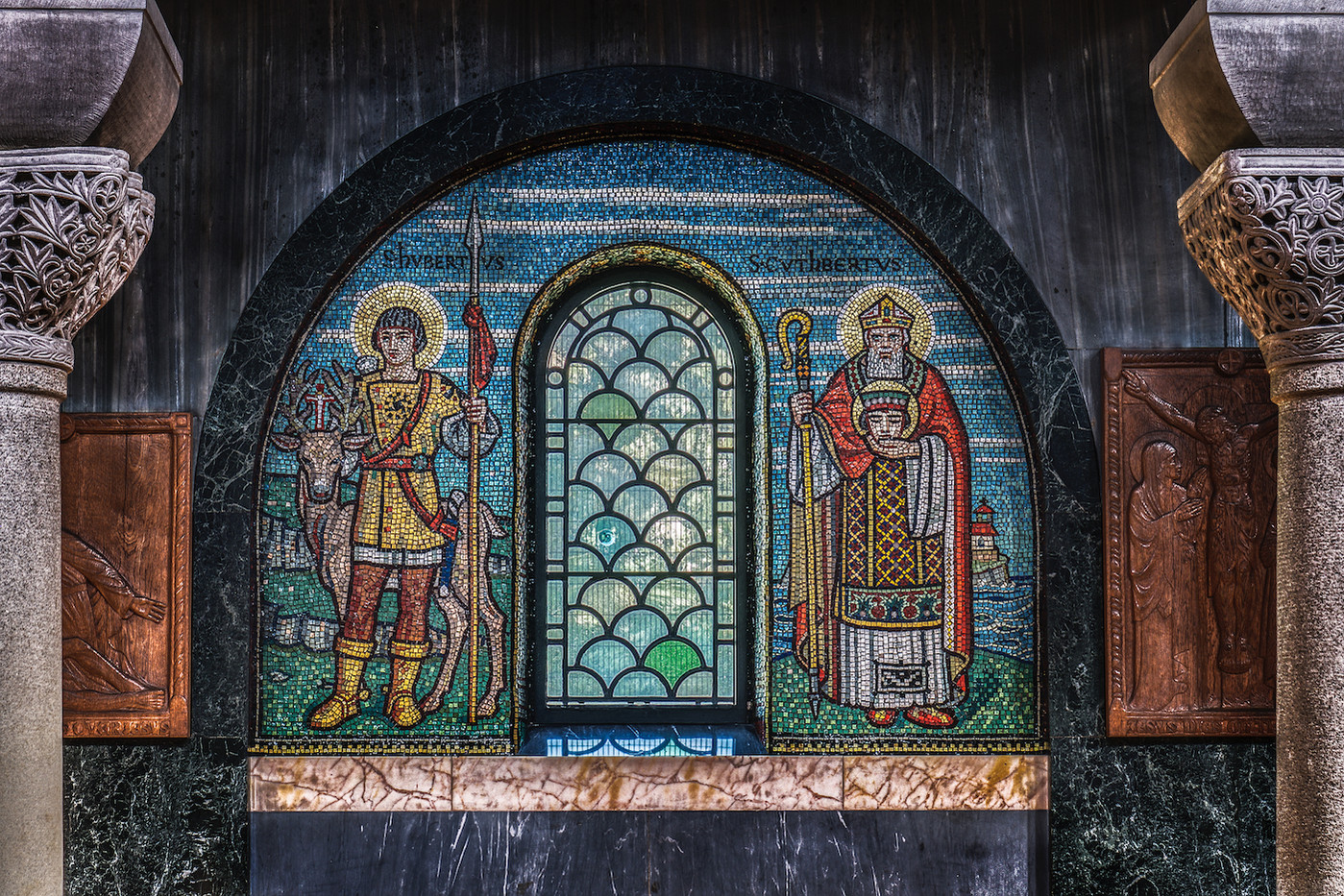 16 MOSAIC OF ST CUTHBERT WITH THE HEAD OF ST OSWALD AT CHURCH IN DROITWICH SPA by John Lewis