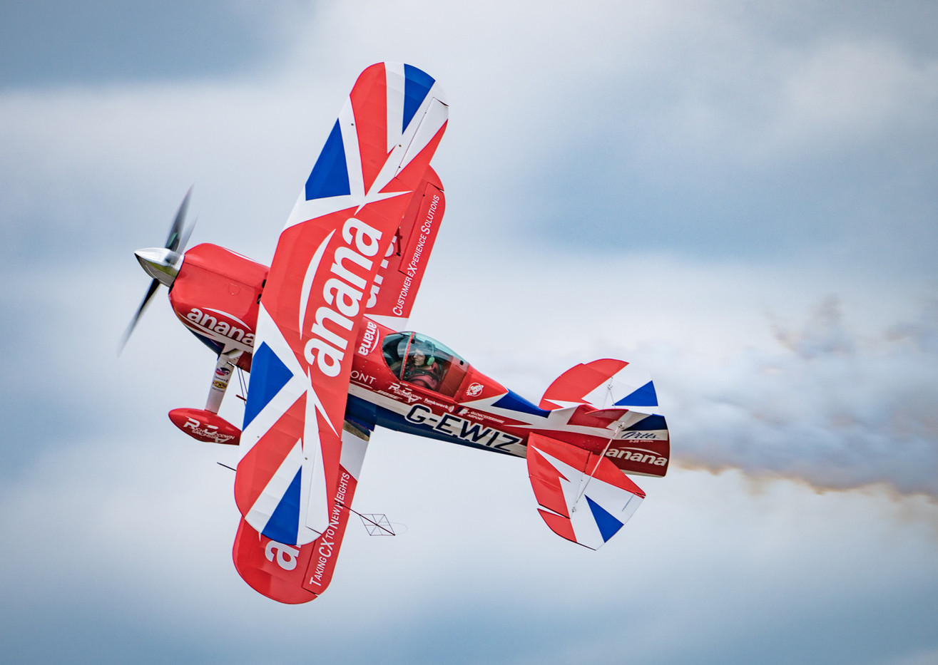 20 PITTS SPECIAL PERFORMING THE KNIFE-EDGE MANOUEVRE by Roger Wates