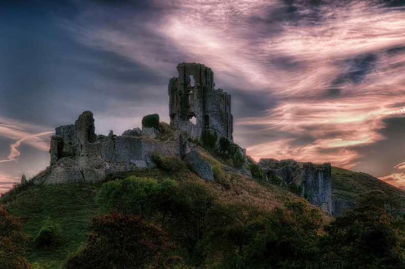 GROUP 1 18 CORFE CASTLE AT FIRST LIGHT by Ann Paine