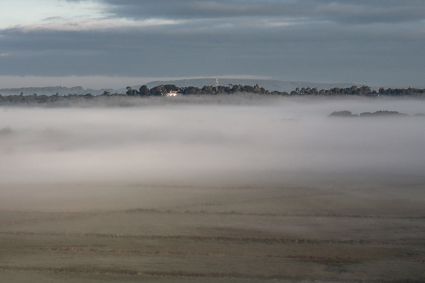 19 EARLY MORNING MIST ON AMBERLEY LEVELS by Denys Clarke