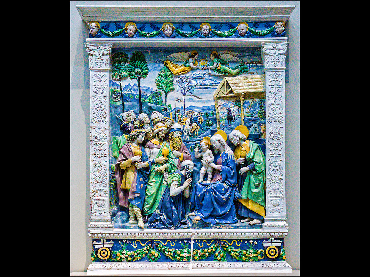 18 THE ADORATION OF THE KINGS, C1500-10, ANDREA DELLA ROBBIA, FLORENCE, TIN GLAZED TERRACOTTA approx' 1000mm X 1100mm by Mick Dudley