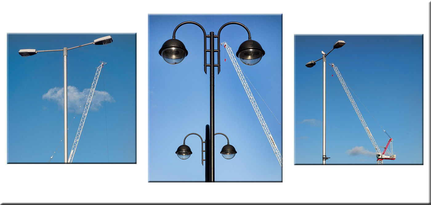 STREET LIGHTS AND CRANE by Les Welton