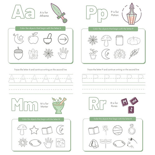Witchling ABCs Worksheet Pack ✧ Printable