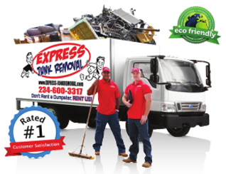 express junk removal, dumpster rental, dumpster rental alternative, trash pickup, junk pickup, youngstown ohio, warren ohio, boardman ohio, tv removal
