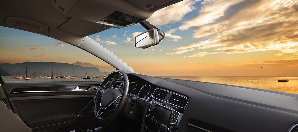 View through car windshield