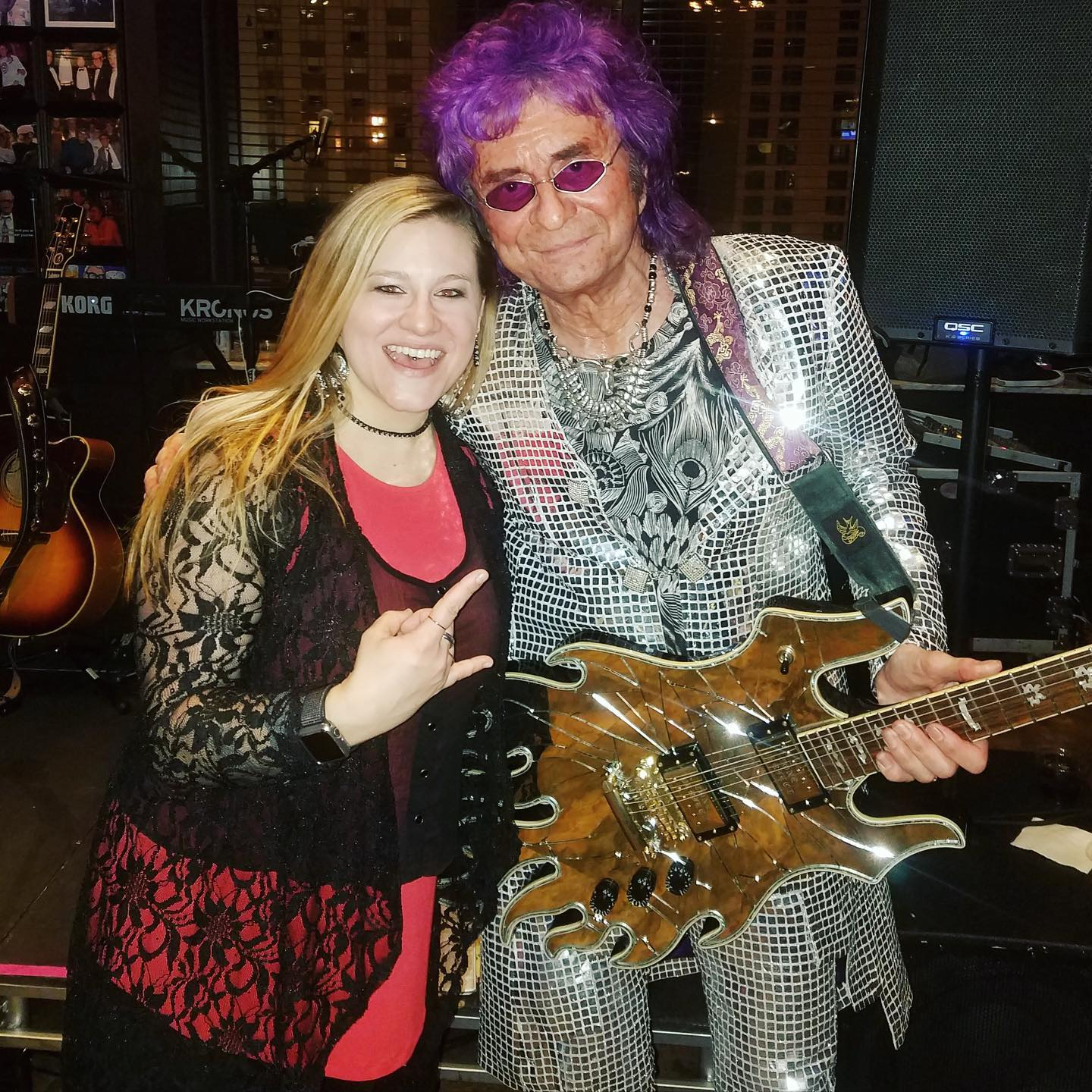 With guitar legend Jim Peterik from Survivor at the 2020 Woody's Winter Warmup Chicago Cubs Event