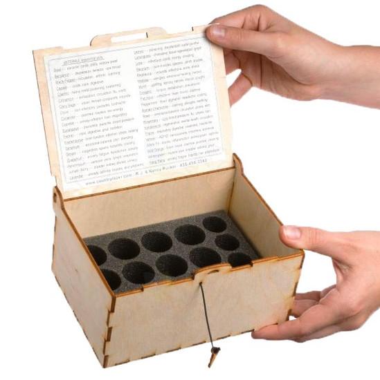 Small Natrual Wood Oil Box (Holds 16 Via