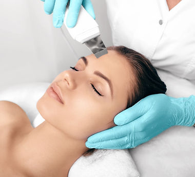 Beautiful woman receiving ultrasound cavitation facial peeling. untra sonic facial thunder by, deep cleansin facial, acne treatment facials, hig frequency facials, skincare products, specialty facials