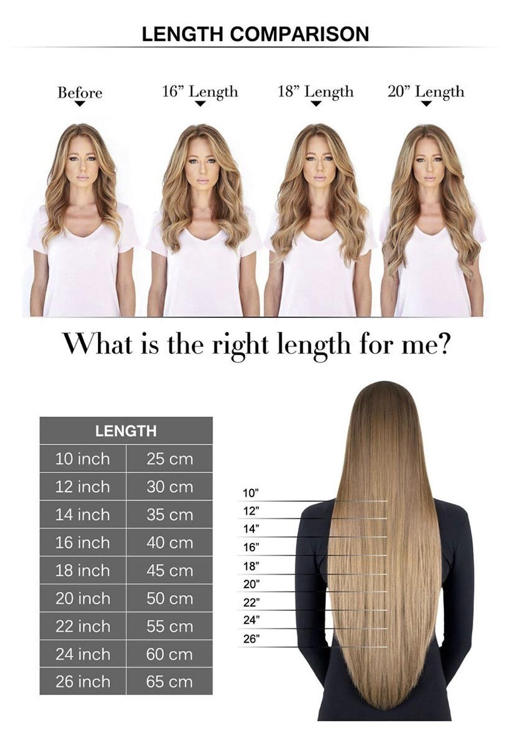 A length comparison chart for hair extensions varying from 16 - 20 inches in length