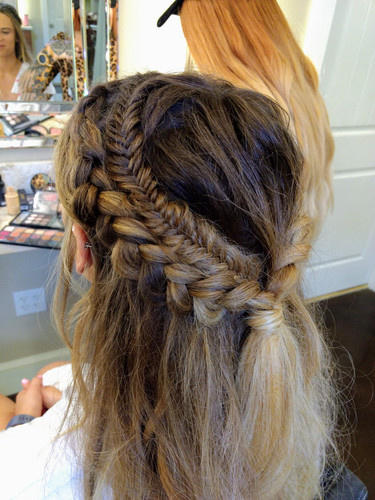 Half up braids and fishtail accent