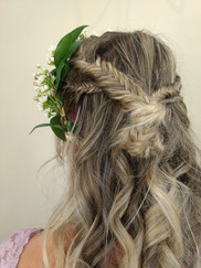 Half up fishtail braid bun