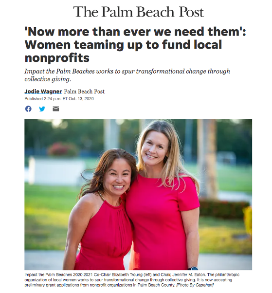 """Impact the Palm Beaches' transformative, high-impact grant making has and will continue to be a game-changer for recipient nonprofits,"" Eaton said. ""Over time, these nonprofits will make a significant difference in the lives of those in need throughout Palm Beach County."" Read more here: https://www.palmbeachpost.com/story/news/local/2020/10/13/local-women-teaming-up-fund-nonprofit-organizations/5926642002/"
