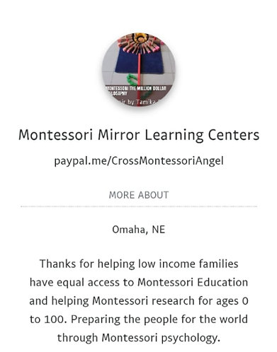 Pay it forward for one child in Montessori