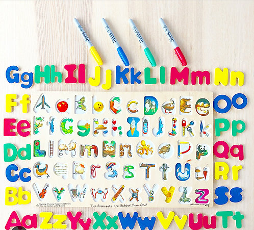 Alphabet board and colored marker set for extensions