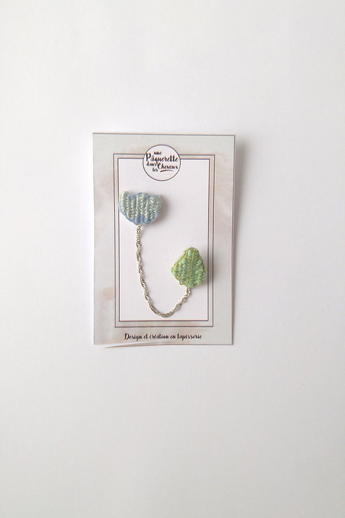 Double pin's tulipe bleu-gris