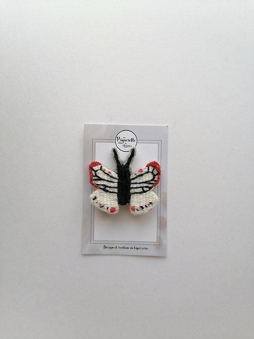 broche papillon blanc & rouge