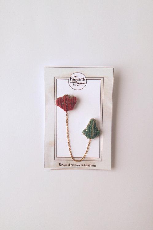 Double pin's tulipe pourpre