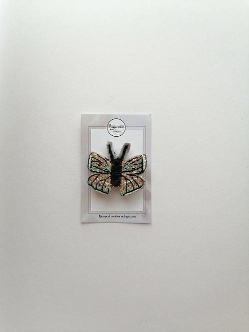 Broche papillon marron & vert