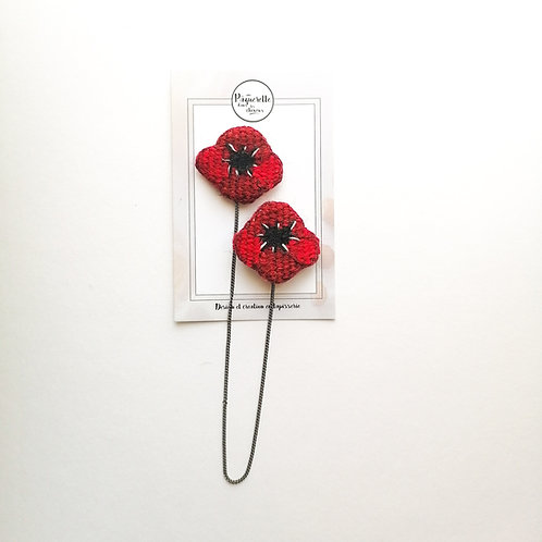 Double Broches coquelicots
