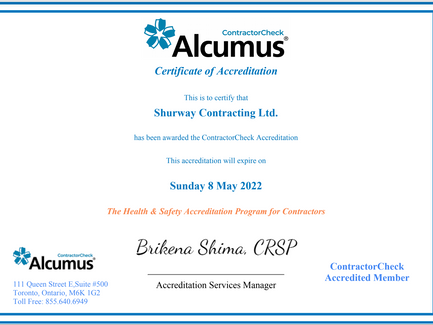 Reaccredited for Contractor Check Alcumus, 2021