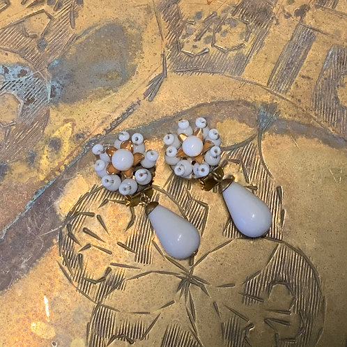 French Deadstock White Glass Beads Flower earring