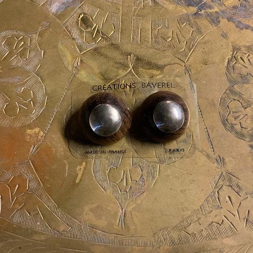 French Deadstock Wood Earring