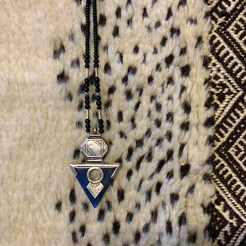 Tuareg blue stone silver necklace