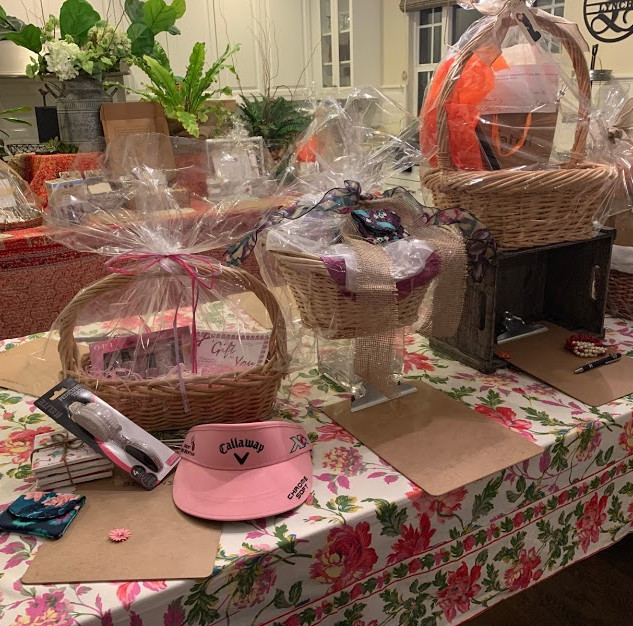 Baskets with donations from local vendors